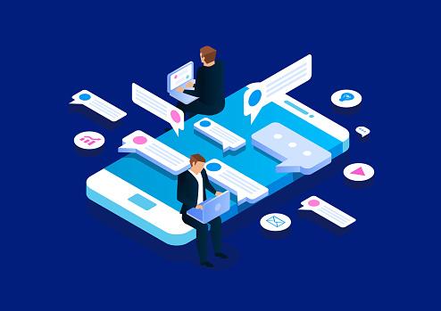 Online communication, isometric business network communication and analysis