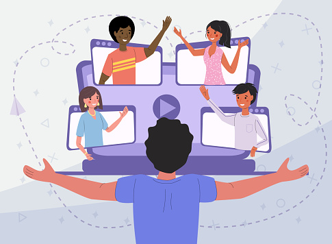 Online communication via video conference with people from different countries, vector illustration concept