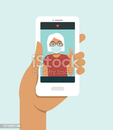 Human hand holding smart phonevideo call on the screen with your elderly family member, mother, granny, online during COVID-19 disease outbreak. quarantine concept. Vector illustration