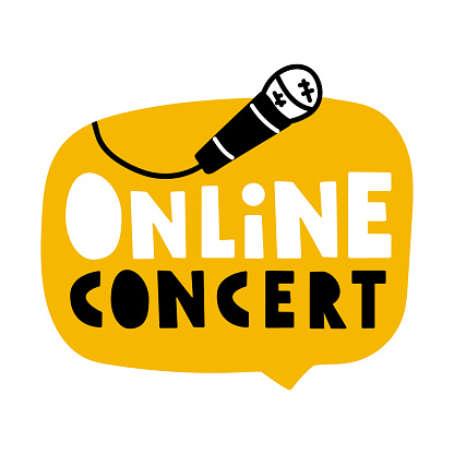 Online concert. Speech bubble with microphone.