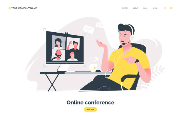online conference flat illustration. man using computer to have video call. video conferencing concept. remote work in the home office. vector eps 10. - virtual meeting stock illustrations