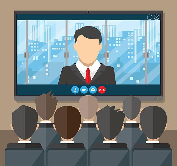 ilustrações de stock, clip art, desenhos animados e ícones de online conference. internet meeting, video call - video call