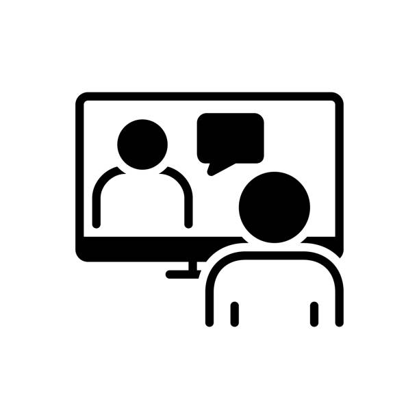 Online conference Icon for online conference, meeting room, hall, conference, executive, pedestal, video conference, webcam zoom stock illustrations