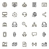 Online consultation line icon set. Collection of high quality black outline logo for web site design and mobile apps. Vector illustration on a white background