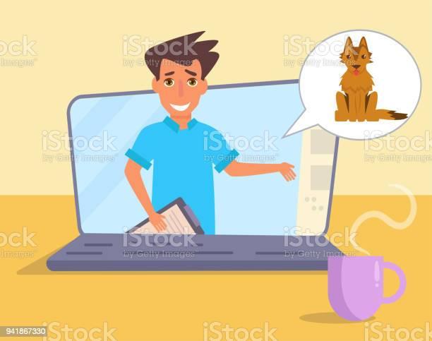 Online consultation of the veterinarian vector id941867330?b=1&k=6&m=941867330&s=612x612&h= wbstypnd1degc8yuelyxtzj5obdgvizzbxdmlucrag=