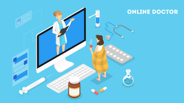 Online consultation with female doctor vector art illustration