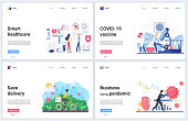 Online contactless services during quarantine concept vector illustrations. Cartoon flat banner set, interface website design with business or healthcare delivering support, vaccine development