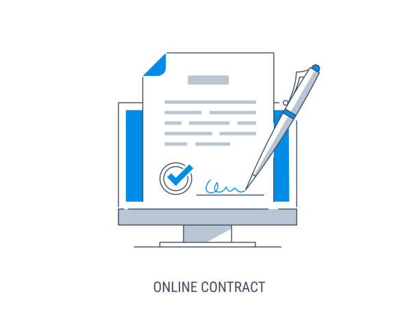 online contract - podpis stock illustrations