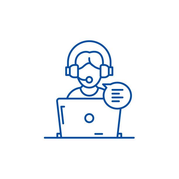 online-beratungslinie icon-konzept. online-beratung flaches vektorsymbol, zeichen, umrissbild. - abgeschiedenheit stock-grafiken, -clipart, -cartoons und -symbole