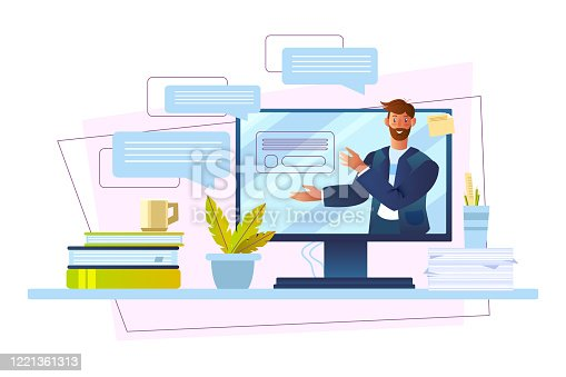istock Online course banner with male tutor, computer screen, messages, papers, cup. 1221361313