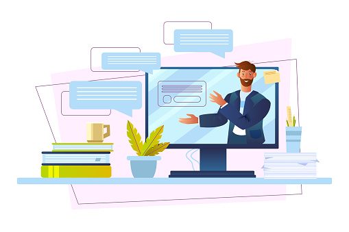 Online course banner with male tutor, computer screen, messages, papers, cup.