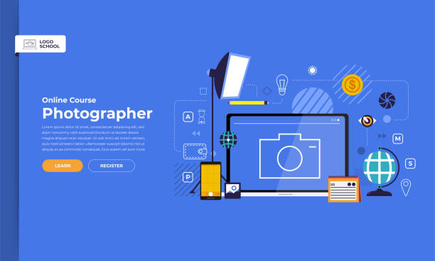 online-kurs ausbildung - fotografieanleitungen stock-grafiken, -clipart, -cartoons und -symbole