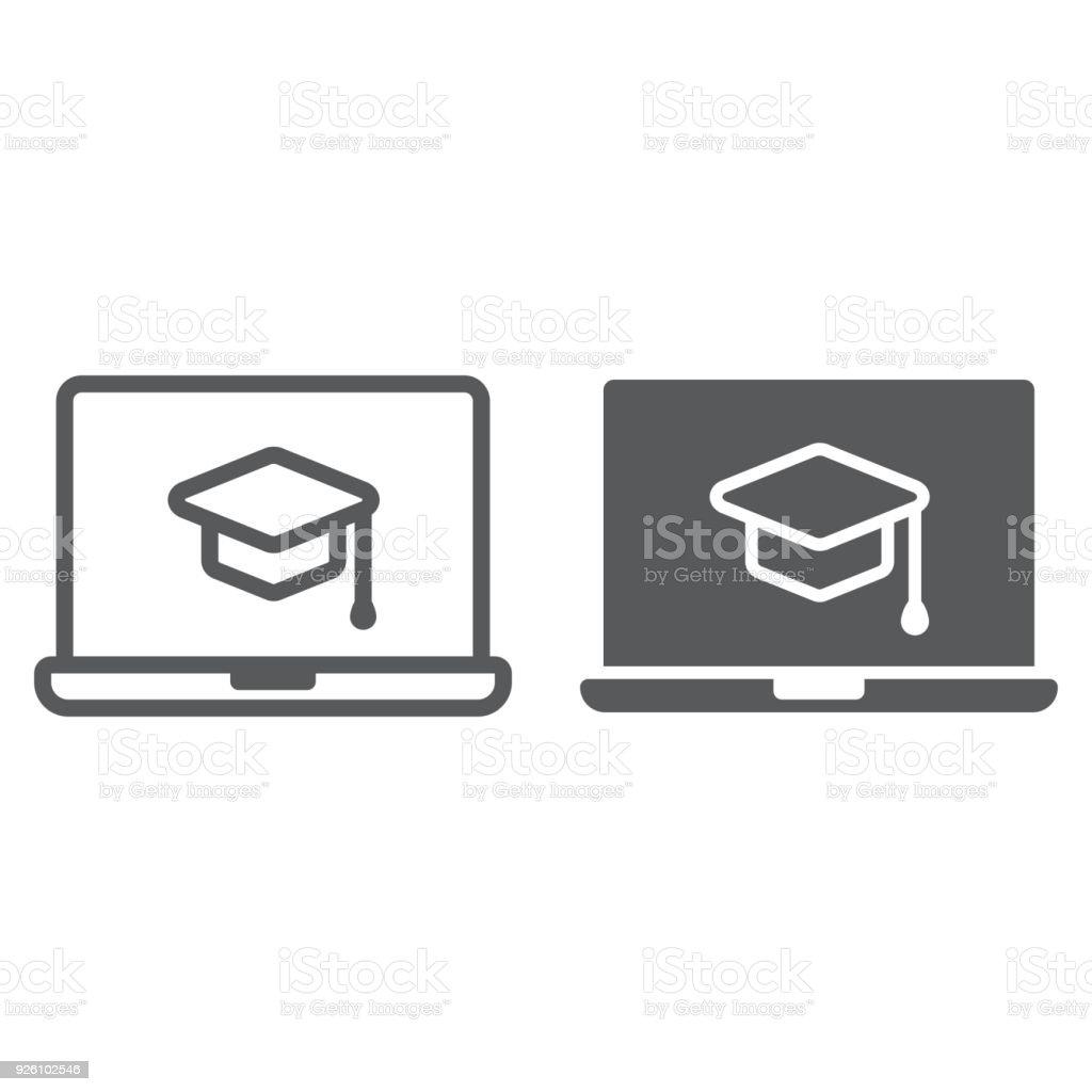 Ilustración de Online Curso Línea Icono De Glifo Aprendizaje Y ...
