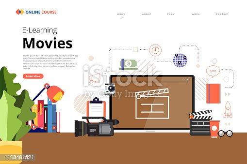Mockup design landing page website education online course movies and film. Vector illustrations. Flat design element.