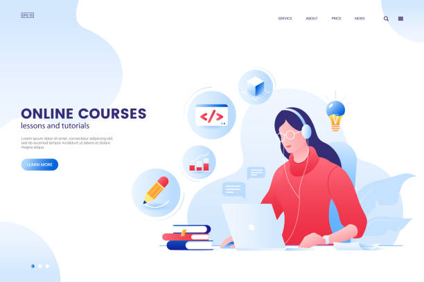 Online course vector illustration. Online education web page concept. Girl studying with laptop. e-Learning platform. Flat style. vector art illustration