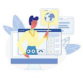 Online Courses, Classes Flat Vector Illustration. Global Distance University, Remote School Program. E-learning, Internet Education. Video Tutorial, Webinar. Female Teacher, Educator Character