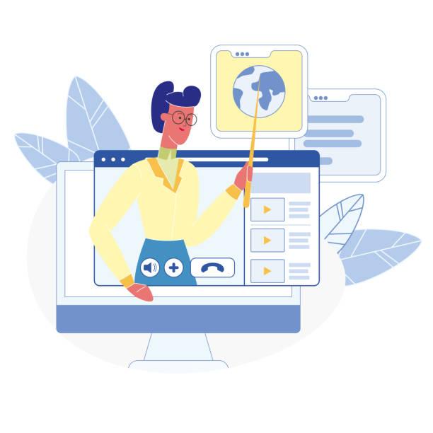 illustrazioni stock, clip art, cartoni animati e icone di tendenza di corsi online, lezioni illustrazione vettoriale piatta - didattica a distanza