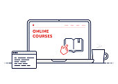 istock Online Courses Concept with Line Laptop Illustration with Editable Stroke. 1270206184