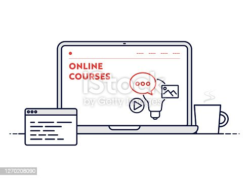 istock Online Courses Concept with Line Laptop Illustration with Editable Stroke. 1270208090