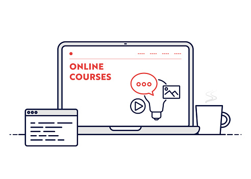 Online Courses Concept with Line Laptop Illustration with Editable Stroke.