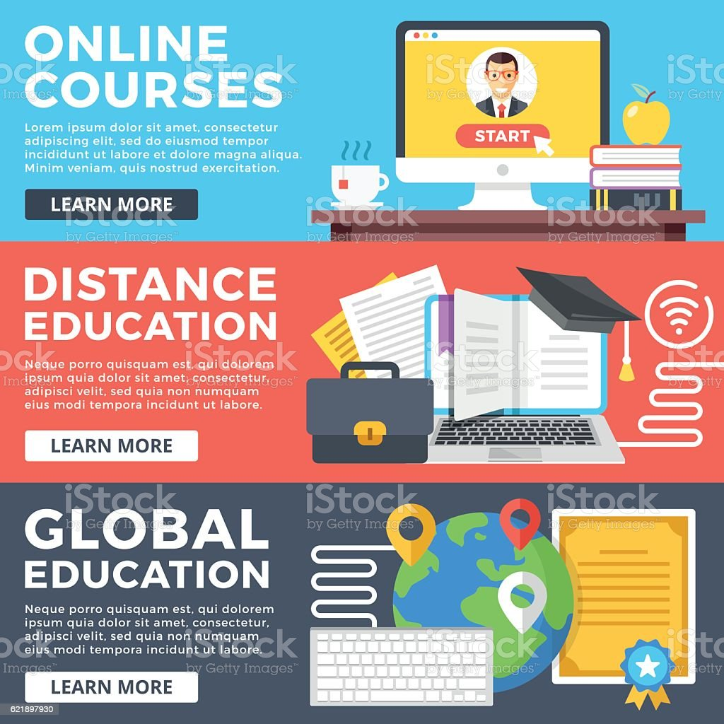 Online courses, distance education, global education flat illustration concepts set vector art illustration