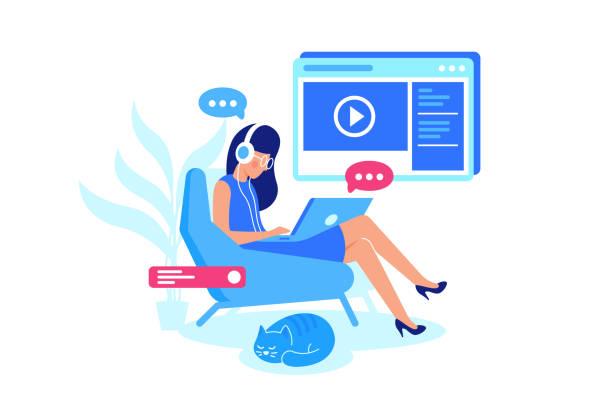 illustrazioni stock, clip art, cartoni animati e icone di tendenza di online courses, e-learning, listening lesson. - didattica a distanza
