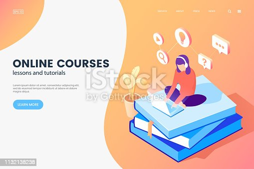 Online courses isometric illustration. Girl with laptop sits on books. Online education web page concept. E-learning banner design. Vector eps 10.