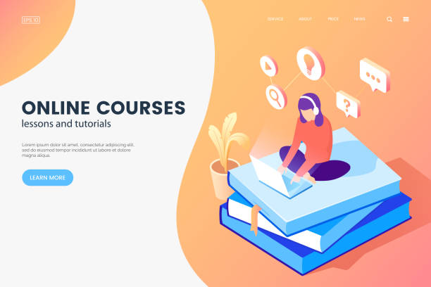 Online courses isometric illustration. Girl with laptop sits on books. Online education web page concept. E-learning banner design. Vector eps 10. Online courses isometric illustration. Girl with laptop sits on books. Online education web page concept. E-learning banner design. Vector eps 10. distant stock illustrations