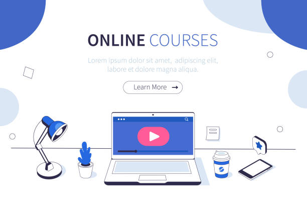 online courses Online courses concept. Can use for web banner, infographics, hero images. Flat isometric vector illustration isolated on white background. online meeting stock illustrations