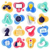 Online creative communities liquid flat flow style concept symbols. Flat design vector icons set for infographics, mobile and web designs.