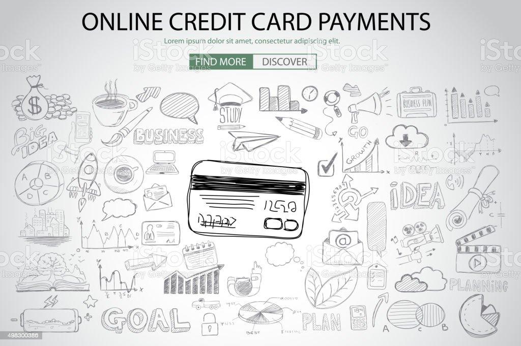 オンラインのクレジットカードによるお支払いは、落書きデザインスタイルのコンセプト ベクターアートイラスト