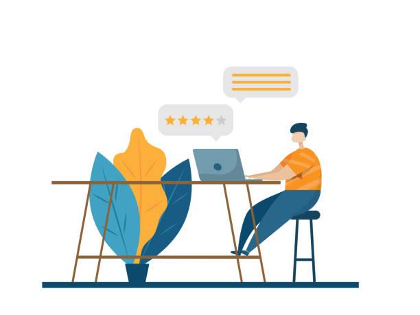 online customer review, feedback vector art illustration