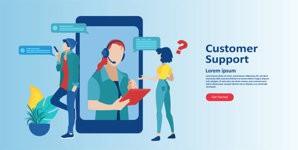 online customer support concept. vector of an mobile service operator with headset answering client questions - call center stock illustrations