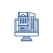Online database of real estate line icon concept. Online database of real estate flat  vector symbol, sign, outline illustration.