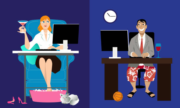 Online date during quarantine Man and woman having an online date, sitting at home in front of their computers, EPS 8 vector illustration online dating stock illustrations