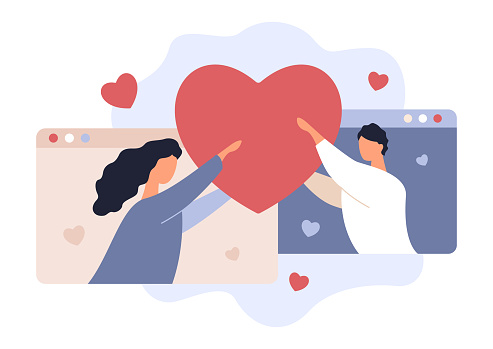 Online Date. Love Rendezvouz. Valentine's Day. Young Man and Woman Holding Heart. Girlfriend and Boyfriend. Couple, Hearts and Browsers, Vector Illustration