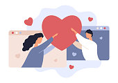 istock Online Date. Love Rendezvouz. Valentine's Day. Young Man and Woman Holding Heart. Girlfriend and Boyfriend. Couple, Hearts and Browsers, Vector Illustration 1298620943