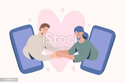 Online date, romantic couple video chat via smartphone application, concept of virtual relationship on quarantine and self-isolation. cute vector illustration with boyfriend and girlfriend characters