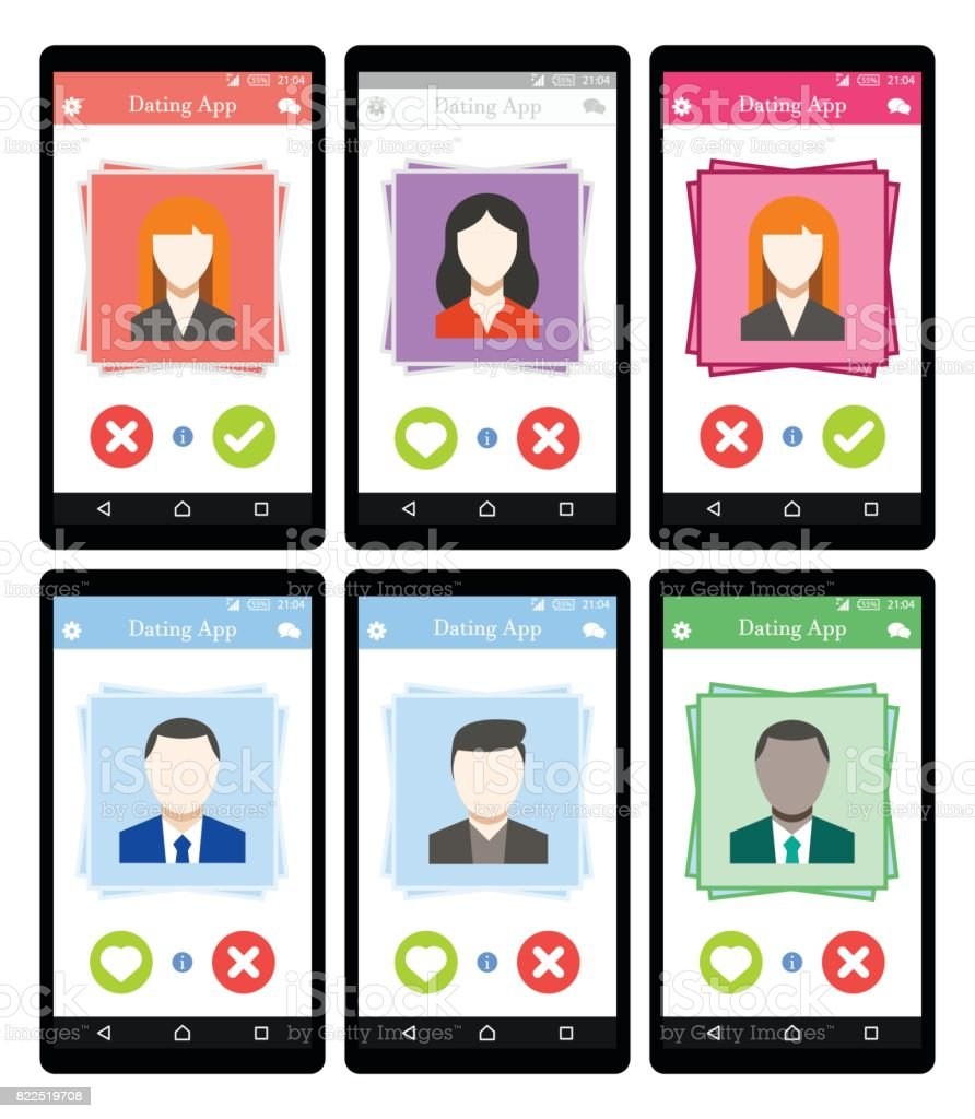 Online Dating app concept on mobile phone Set Flat Vector vector art illustration