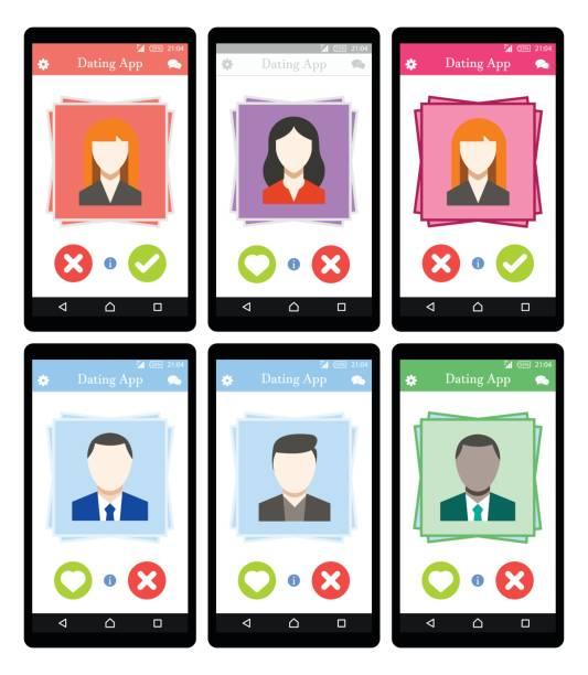 Online Dating app concept on mobile phone Set Flat Vector eps 10 romance stock illustrations