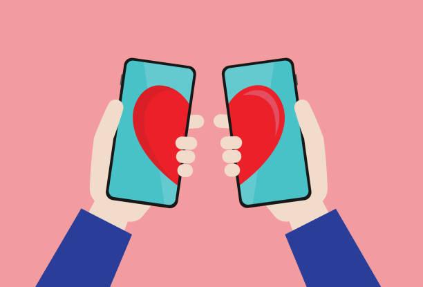 Online dating app Social Media, Mobile App, Online Messaging, Internet Dating, Couple - Relationship, Dating, Love - Emotion online dating stock illustrations