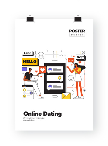 Online Dating Concept for Posters, Covers and Banners, Advertising and Marketing Material