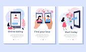 Online dating concept illustration set, perfect for banner, mobile app, landing page