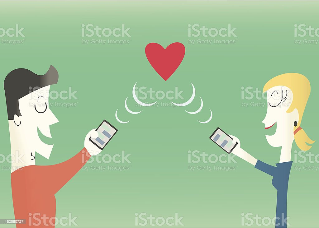 Online Dating Concept vector art illustration