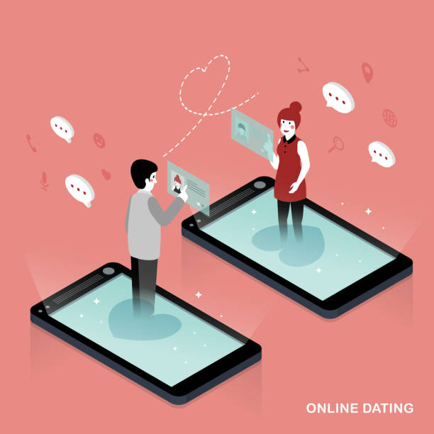 Online dating concept 3d isometric flat design - Online dating concept online dating stock illustrations
