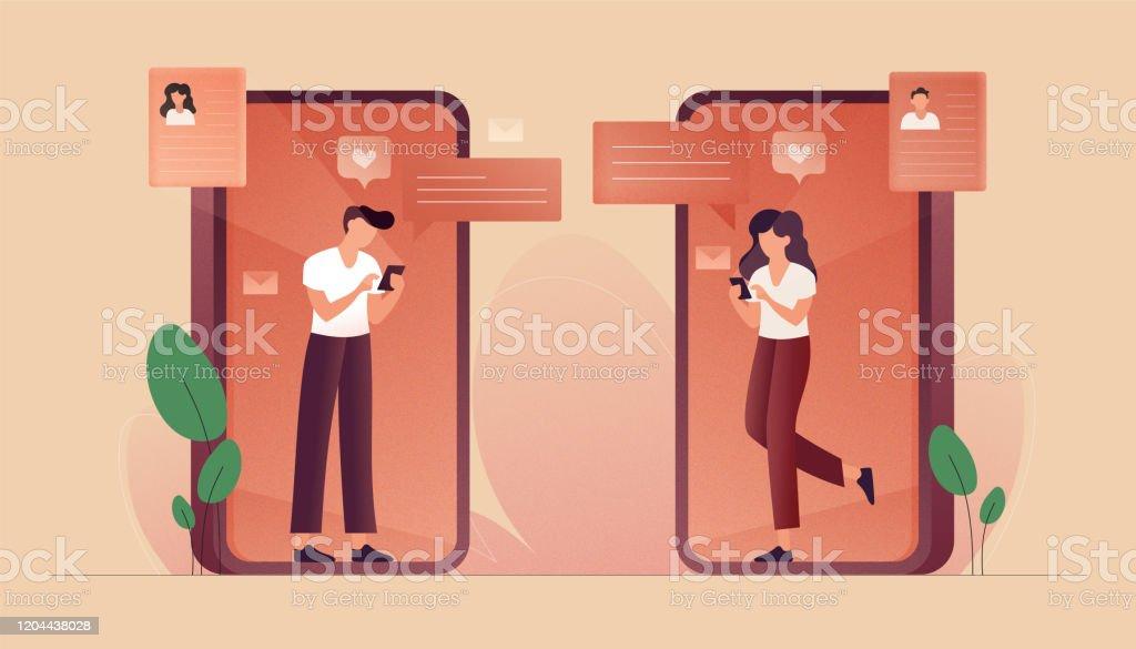 Online-Dating-Konzept Vektor-Illustration. Flaches modernes Design für Webseiten, Banner, Präsentation usw. - Lizenzfrei Am Telefon Vektorgrafik
