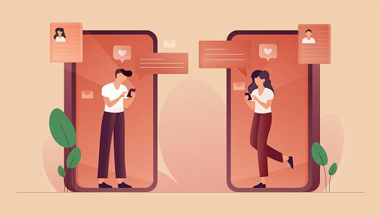 Online Dating Concept Vector Illustration Flat Modern Design For Web Page Banner Presentation Etc Stock Illustration - Download Image Now