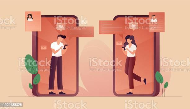 Onlinedatingkonzept Vektorillustration Flaches Modernes Design Für Webseiten Banner Präsentation Usw Stock Vektor Art und mehr Bilder von Am Telefon