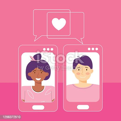 Online dating platform service application. Modern young people looking for a couple. Video chat via smartphone app. Social media, virtual relationship communication. International couple in love
