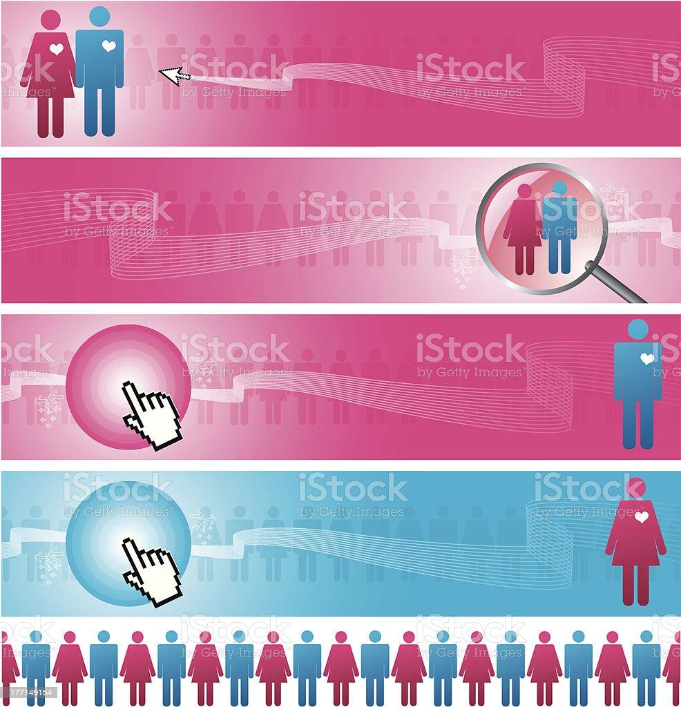 Online dating vector art illustration
